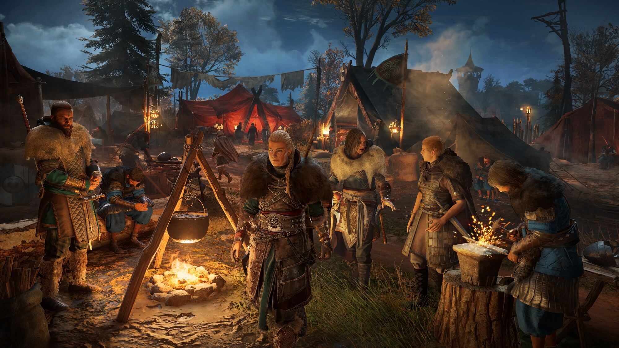 Assasins Creed Valhalla: Protagonistin Eivor läuft durch ein Norweger-Camp