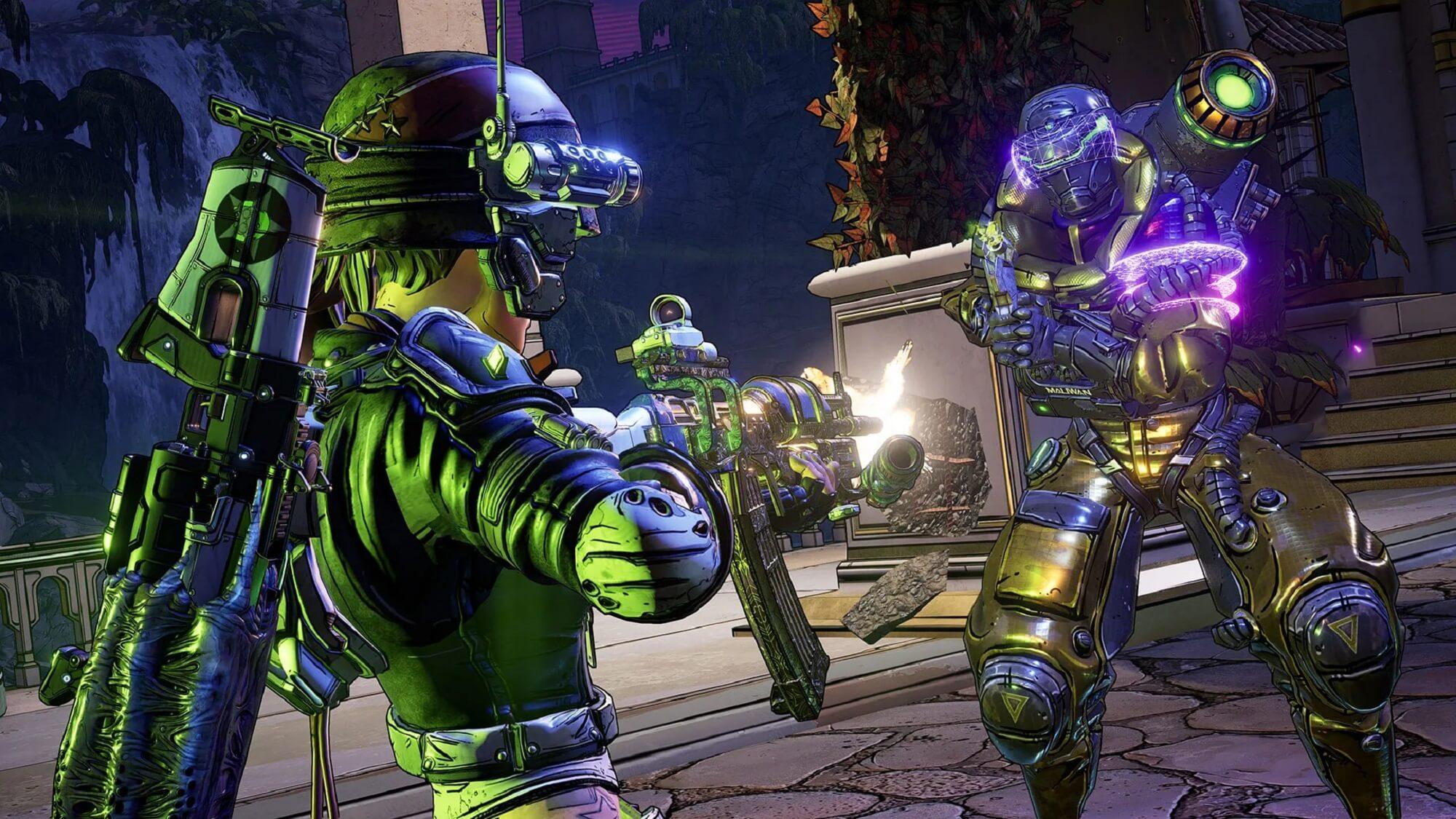 Figur steht mit Waffe im Vordergrund, im Hintergrund stehen weitere Figuren.