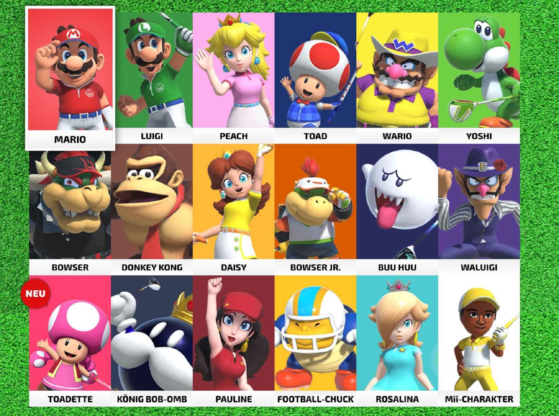 Mario Golf Super Rush: Charakter Auswahl